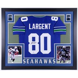 Steve Largent Signed Seattle Seahawks 35x43 Custom Framed Jersey (Beckett COA)