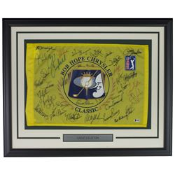 PGA Tour 21x27 Custom Frame Golf Pin Flag Signed by (31) with Phil Mickelson, Jack Nicklaus, Justin