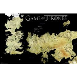 "John Bradley Signed ""Game of Thrones"" 24x36 Westeros Map Photo Inscribed ""Sam"" (Radtke COA)"