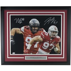 Nick Bosa  Joey Bosa Signed Ohio State Buckeyes 22x29 Custom Framed Photo Display (JSA COA)
