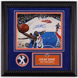 Jerian Grant Signed New York Knicks 16.5x16.5 Custom Framed Photo Display with Game-Used Net (Steine