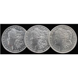 Lot of (3) Morgan Silver Dollars with 1888, 1889,  1921