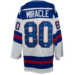 """1980 Team USA """"Miracle on Ice"""" Hockey Jersey Team-Signed By (14) with Mike Eruzione, Jim Craig, Crai"""