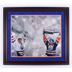 Wayne Gretzky  Mark Messier Signed LE Edmonton Oilers 27.5x31.5 Custom Framed Photo Display (Steiner