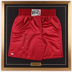 Julio Cesar Chavez Signed 29x29 Custom Framed Boxing Trunks Display (JSA COA)