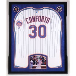 Michael Conforto Signed New York Mets 34.5x42.5 Custom Jersey Display (Steiner Hologram)