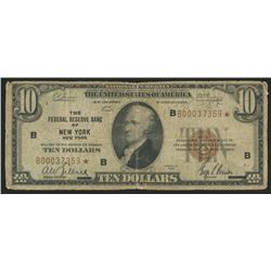 1929 Star Note $10 Ten Dollars U.S. National Currency Bank Note - The Federal Reserve Bank of New Yo