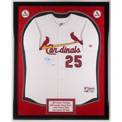 Mark McGwire Signed LE St. Louis Cardinals 34.5x42.5 Custom Framed Jersey Display (Steiner COA)