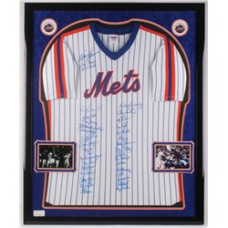 1986 New York Mets 34x42.5 Custom Framed Jersey Display Team-Signed by (33) with Davey Johnson, Gary