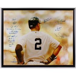 New York Yankees 32.5x40 Custom Framed Canvas Team-Signed by (12) with Joe Girardi, Tino Martinez, H