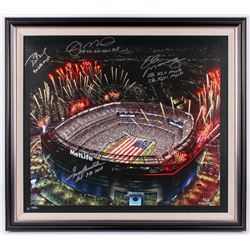 Met Life Stadium LE 31x35 Custom Framed Canvas Display Signed by (4) with Tom Brady, Terry Bradshaw,