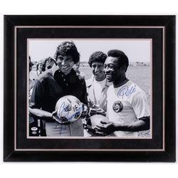 Pele  Joe Namath Signed 23.5x27.5 Custom Framed Photo Display (PSA Hologram)