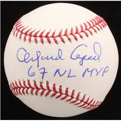 "Orlando Cepeda Signed OML Baseball Inscribed ""67 NL MVP"" (JSA COA)"