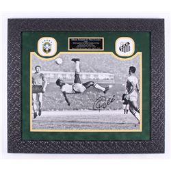 Pele Signed Brazil 24.5x28 Custom Framed Photo Display (Steiner COA)