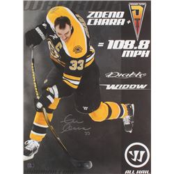 "Zdeno Chara Signed Boston Bruins ""Hardest Shot Record"" 18x24 Photo (Chara COA)"