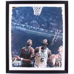 "John Havlicek Signed Boston Celtics 24x28 Custom Framed Canvas Display Inscribed ""HOF 84"" (Steiner H"