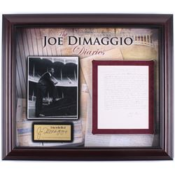 "Joe DiMaggio Hand-Written ""The Joe DiMaggio Diaries"" 24x28 Custom Framed Diary Page Display (Steiner"