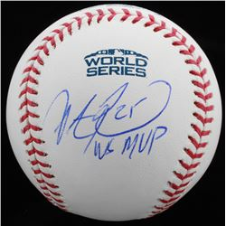 "Steve Pearce Signed Official 2018 World Series Baseball Inscribed ""WS MVP"" (JSA COA)"