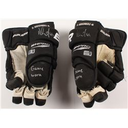 Dennis Seidenberg Signed Pair of Game-Used Hockey Gloves (Seidenberg COA)