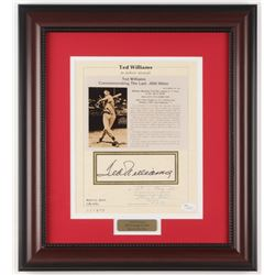 "Ted Williams Signed Boston Red Sox ""Commemorating Batting .406 AVG"" 14.75x16.5 Custom Framed Photo D"