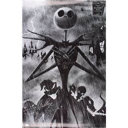 """Ken Page  Chris Sarandon Signed """"Nightmare Before Christmas"""" 22.5x34 Photo Inscribed """"Oogie Boogie"""""""