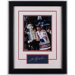Mark Messier Signed New York Rangers 16.5x20.5 Custom Framed Cut Display (JSA COA)