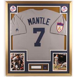 Mickey Mantle Signed New York Yankees 32x36 Custom Framed Cut Display (JSA ALOA)