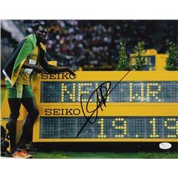 "Usain Bolt Signed Team Jamaica ""200M World Recod"" 11x14 Photo (JSA COA)"