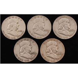 Lot of (5) 1952-1960 Franklin Half Dollar Coins