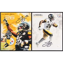 Lot of (2) Le'Veon Bell Signed Pittsburgh Steelers 8x10 Photos (JSA COA)