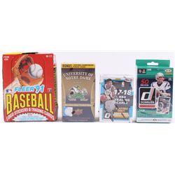 Lot of (4) Card Sets with 1991 Fleer Baseball Card Set, 2013 Upper Deck University of Notre Dame Foo
