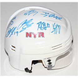 2010 New York Rangers Logo Mini Hockey Helmet Team-Signed by (14) with Ryan Callahan, Ryan McDonagh,