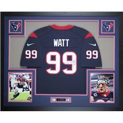 JJ Watt Signed Houson Texans 35x43 Custom Framed Jersey (JSA COA)