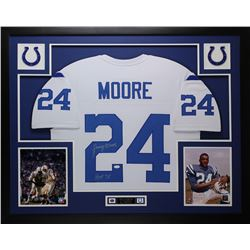 "Lenny Moore Signed Indianapolis Colts 35x43 Custom Framed Jersey Display Inscribed ""HOF 75"" (JSA COA"