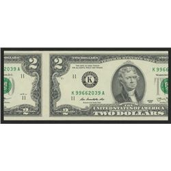 2013 $2 Two Dollars Green Seal Federal Reserve Note (Miscut)