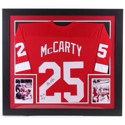 "Darren McCarty Signed Red Wings 31x35 Custom Framed Jersey Inscribed ""4x SC Champs"" (JSA COA)"