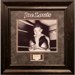 "Joe Louis Signed 18x18 Custom Framed Cut Display Inscribed ""From"" (JSA LOA)"