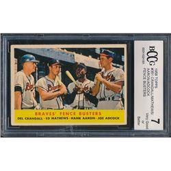 1958 Topps #351 Braves Fence Busters / Del Crandall / Eddie Mathews / Hank Aaron / Joe Adcock (BCCG