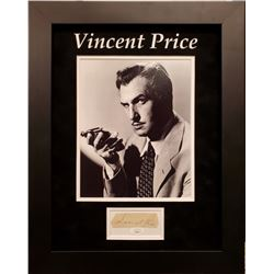 Vincent Price Signed 18x18 Custom Framed Cut Display (JSA COA)