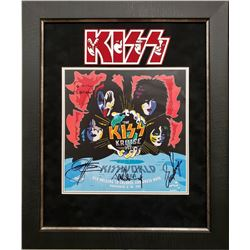 """""""KISS"""" 19x23 Custom Framed Concert Poster Display Signed by (4) with Gene Simmons, Paul Stanley, Pet"""