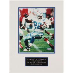 Emmitt Smith Signed Dallas Cowboys 12x16 Custom Matted Photo Display (Beckett COA)