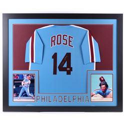 Pete Rose Signed Philadelphia Phillies 35x43 Custom Framed Jersey (Fiterman Sports Hologram)