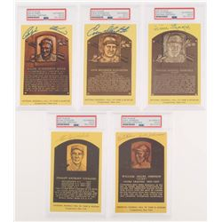 Lot of (5) Signed Gold Hall of Fame Plaque Postcards with Enos Slaughter, Ralph Kiner, Stan Covelesk