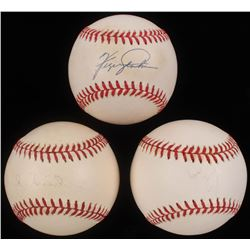 Lot of (3) ONL  OML Baseballs Signed by Greg Maddux, Duke Snider  Fergie Jenkins (Mounted Memories H