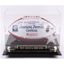 Jerry Jones  Troy Aikman Signed LE Hand-Painted Dallas Cowboys Logo NFL Football with High-Quality D