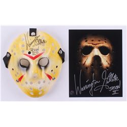 """Lot of (2) Warrington Gillette Signed """"Friday the 13th Part 2"""" Items with 8x10 Photo  Mask Inscribed"""