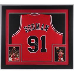 Dennis Rodman Signed Chicago Bulls 31x35 Custom Framed Jersey (JSA COA)