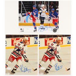 Lot of (3) Signed New York Rangers 8x10 Photos with (2) Stephane Matteau  (1) Brandon Dubinsky (JSA