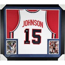 Magic Johnson Signed Team USA 31x35 Custom Framed Jersey (Beckett COA)