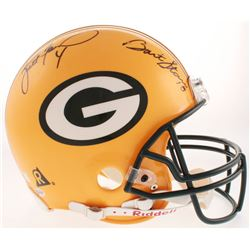 Bart Starr  Brett Favre Signed Green Bay Packers Full-Size Authentic On-Field Helmet (Beckett LOA)
